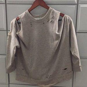 Grey cold shoulder sweatshirt